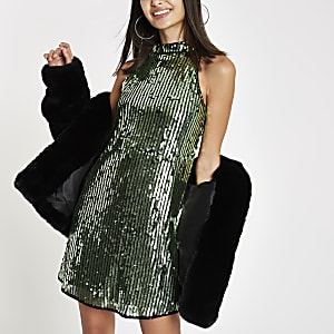 Green sequin sleeveless swing dress