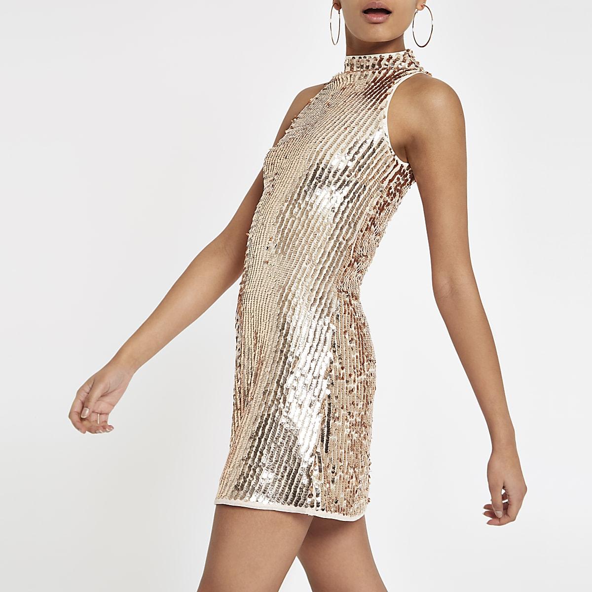 Gold sequin sleeveless swing dress