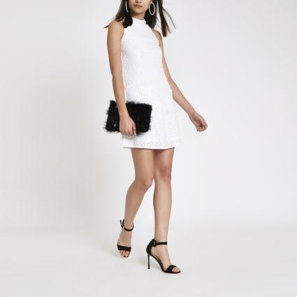 White sequin sleeveless swing dress