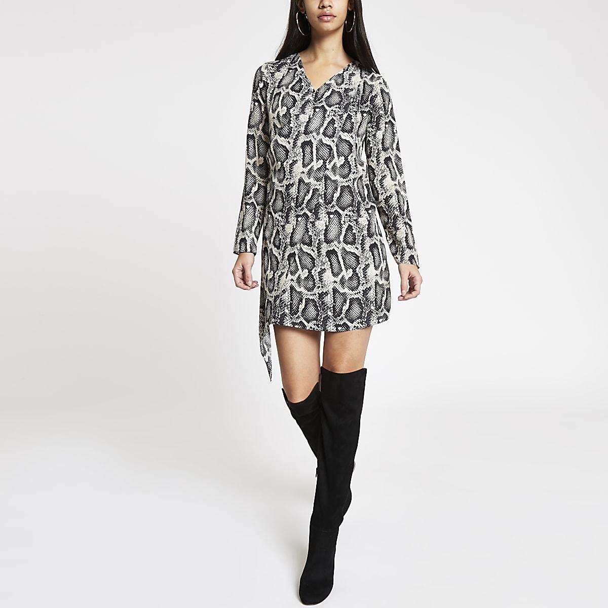 Black snake print drape front swing dress