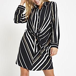 Black stripe tie front shirt dress