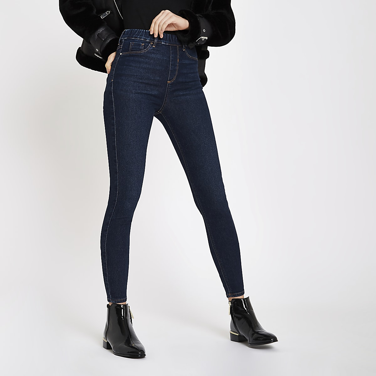 Dark blue Cici pull on jeggings