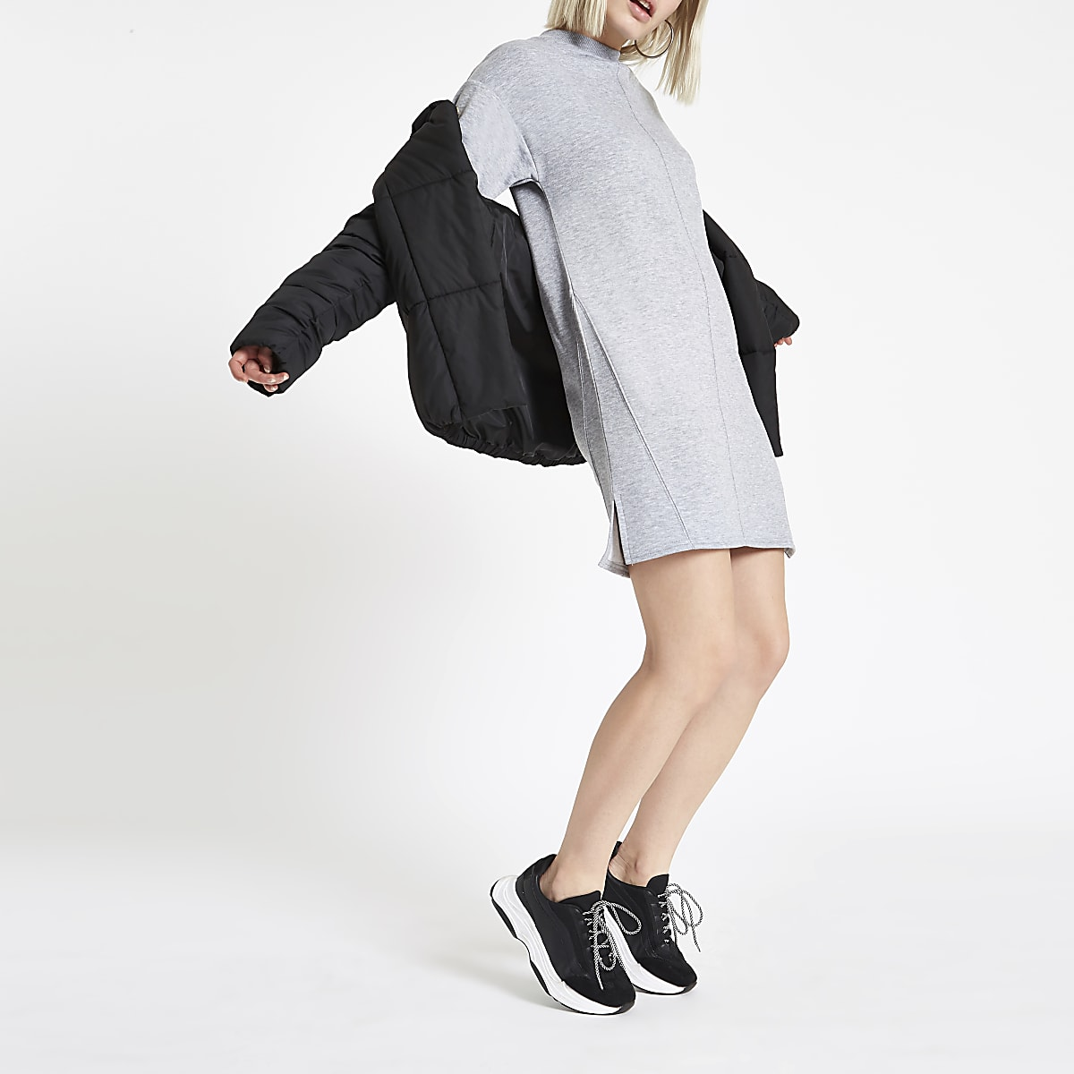 Grey marl high neck jumper dress