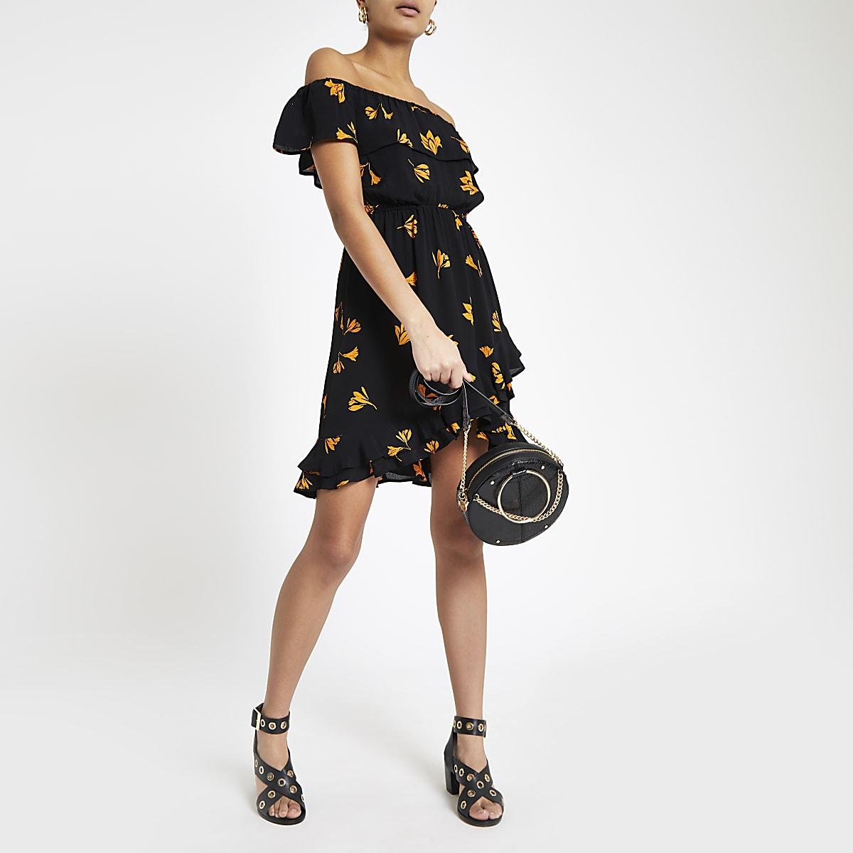 Black floral bardot frill hem dress