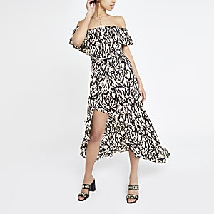 Black leopard print bardot maxi dress