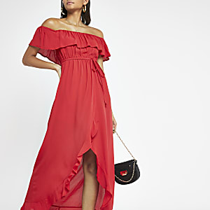 Red bardot maxi dress
