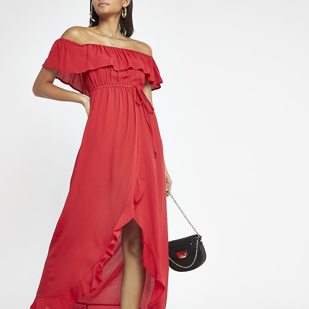 Red bardot maxi dress