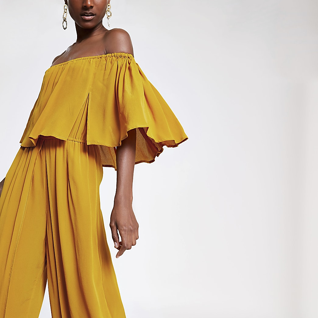Combinaison Bardot large jaune