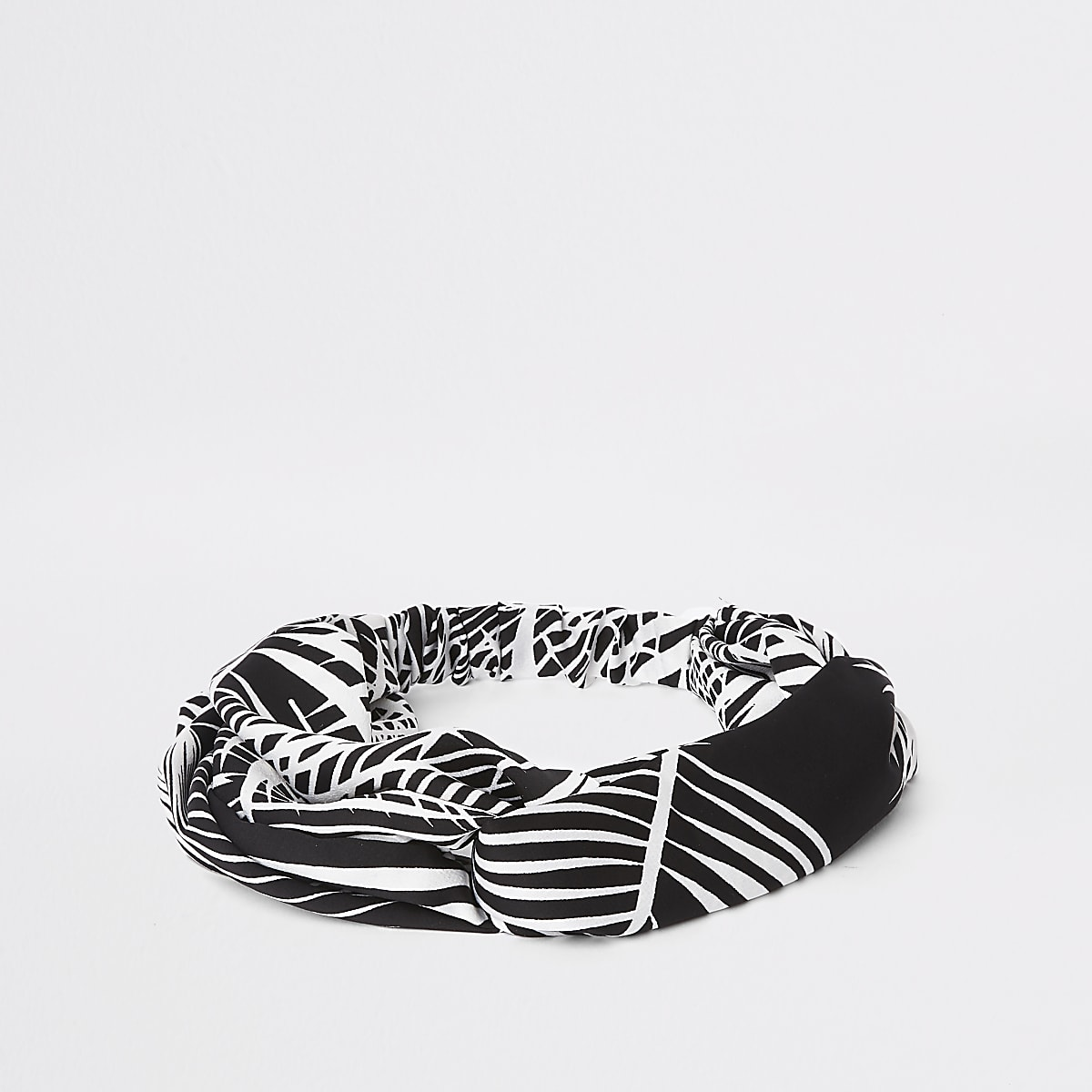 Black palm print twist headband