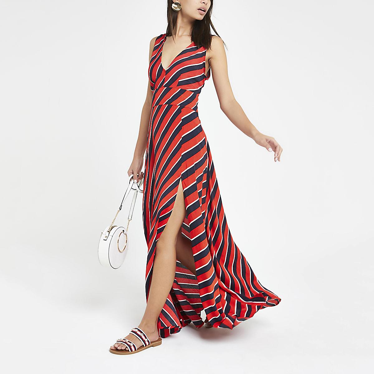 Red stripe plunge maxi dress