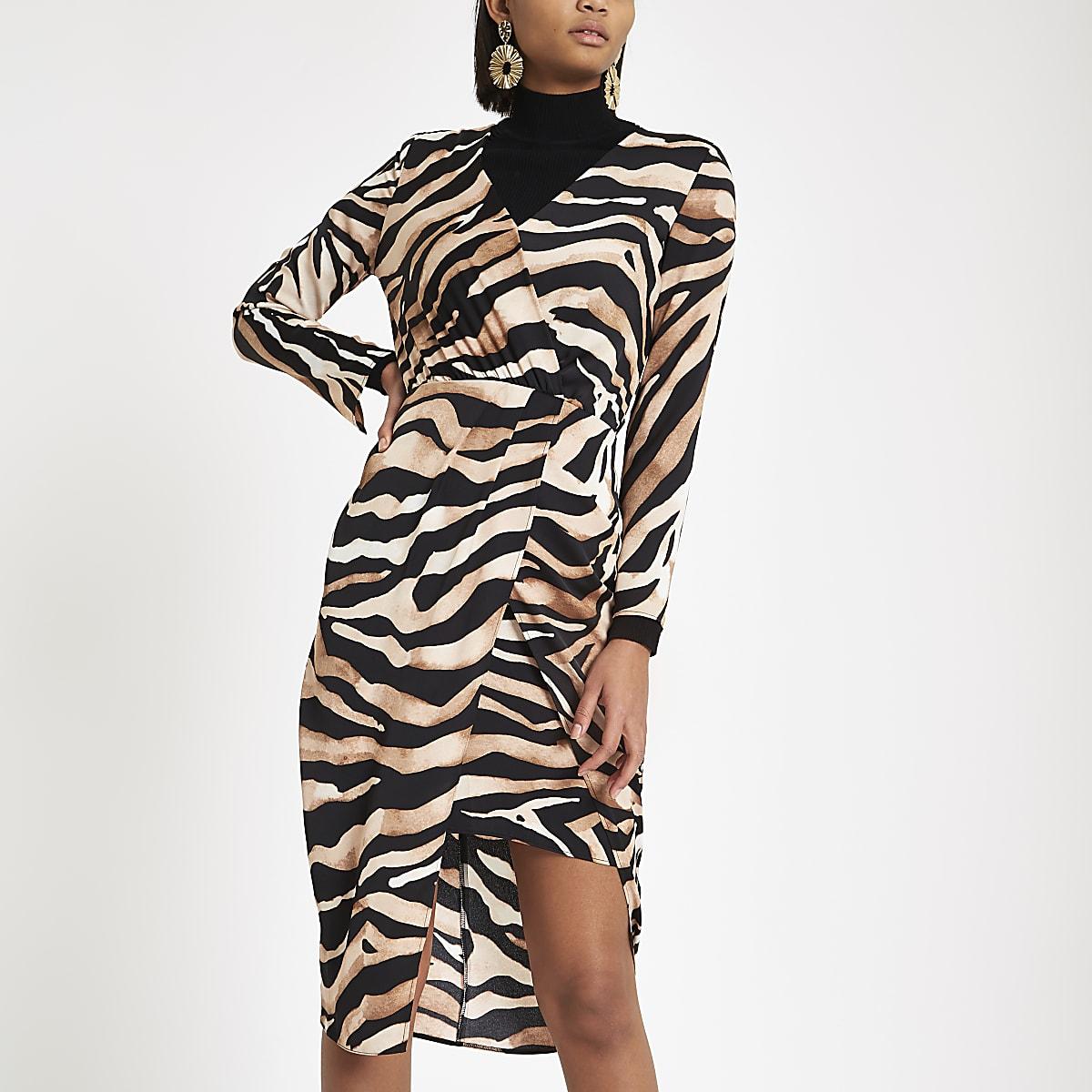 3b8ef14774 Brown tiger print wrap midi dress - Party & Evening Dresses - Dresses -  women