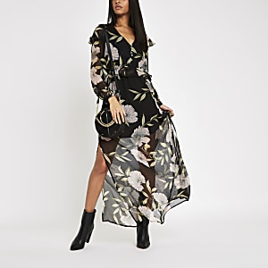 Black floral frill maxi dress