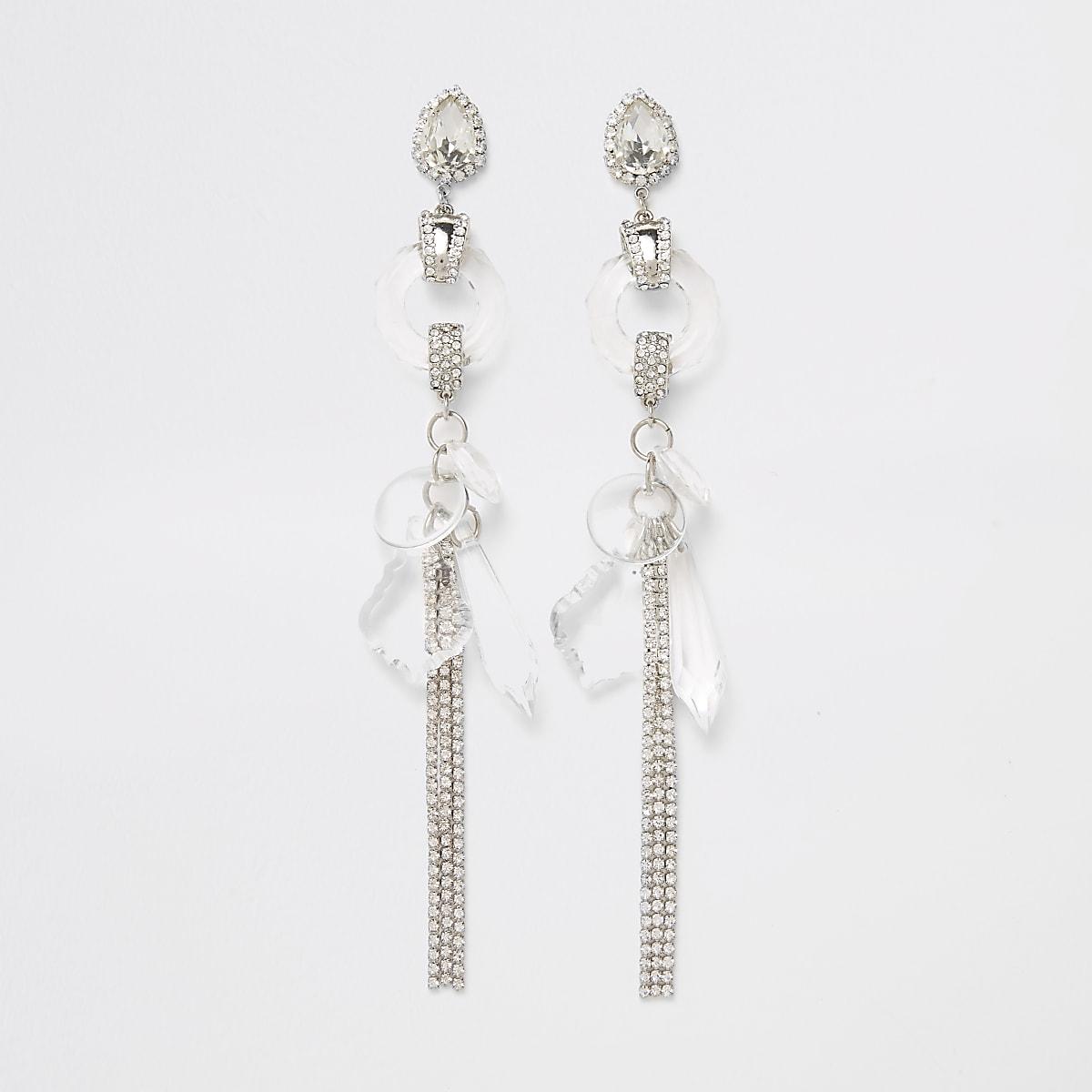 Silver tone rhinestone and jewel drop earrings