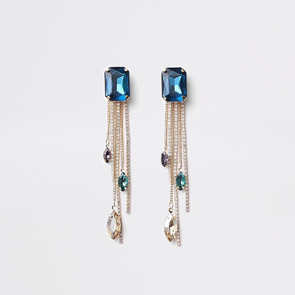 Gold tone blue gem stone drop earrings
