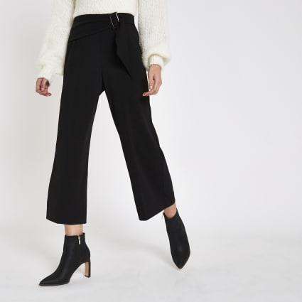 Black buckle tie waist culottes