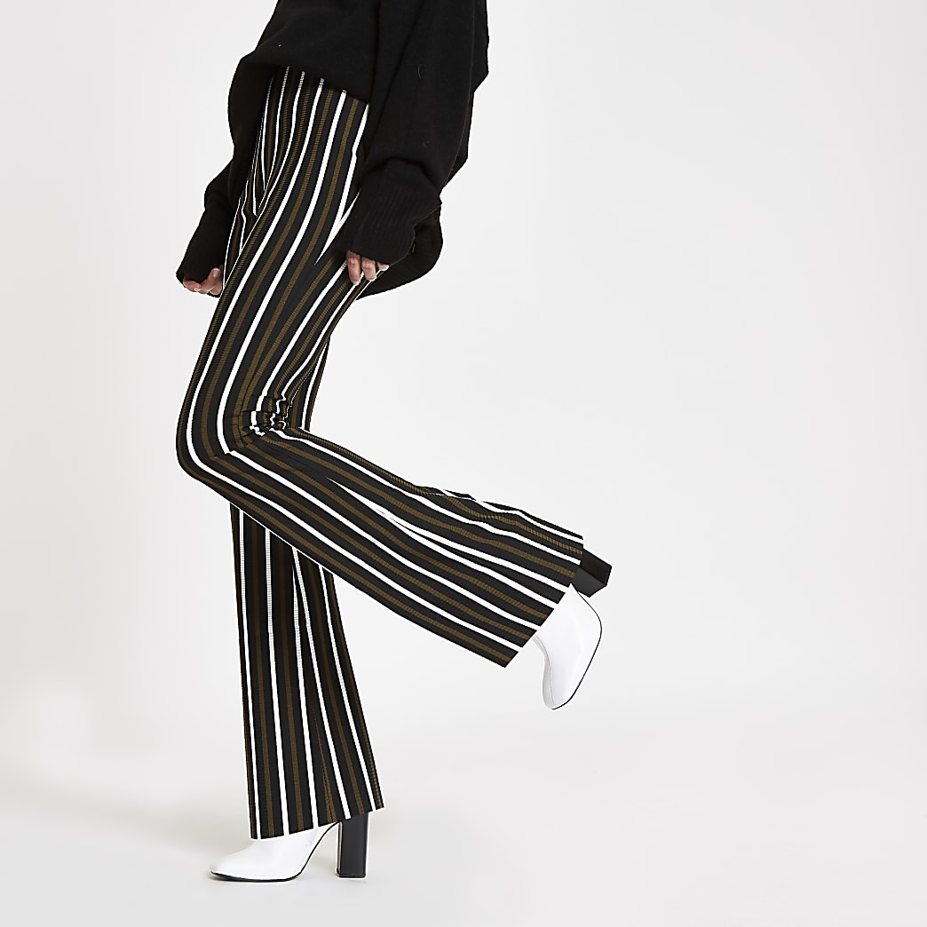 Khaki stripe ribbed flared leg trousers
