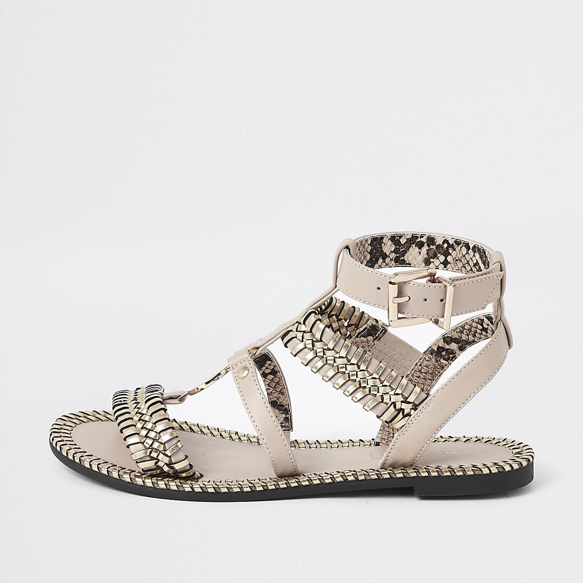 Light pink woven detail caged flat sandal