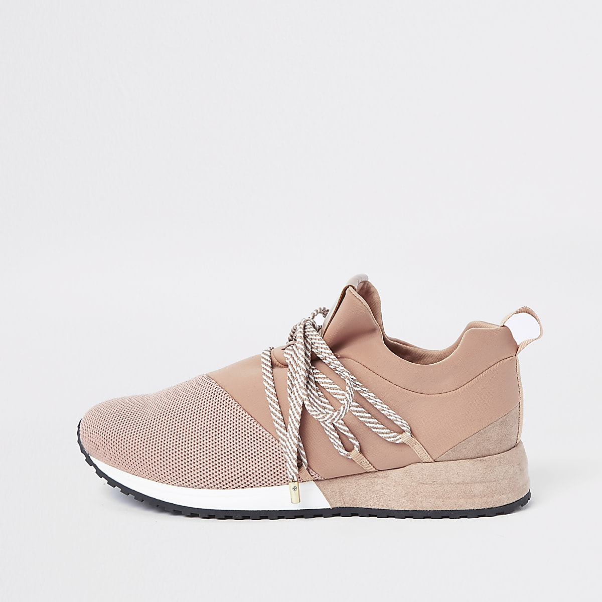 Light pink lace-up runner trainers