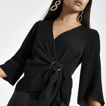 Petite black buckle wrap blouse