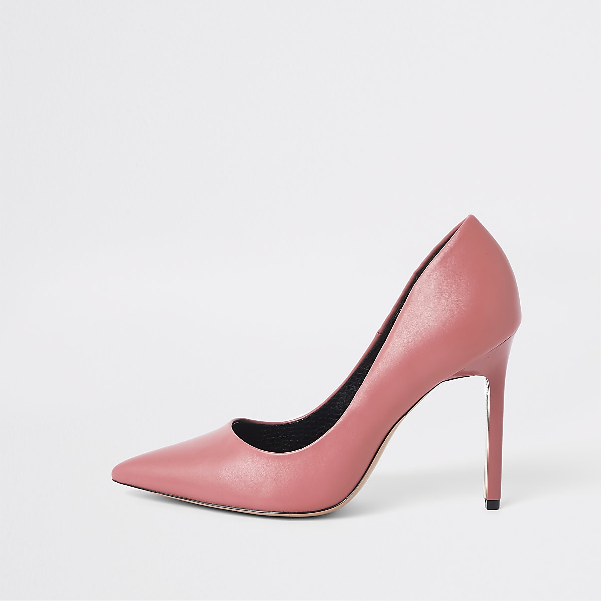 Pink faux leather skinny heel pumps