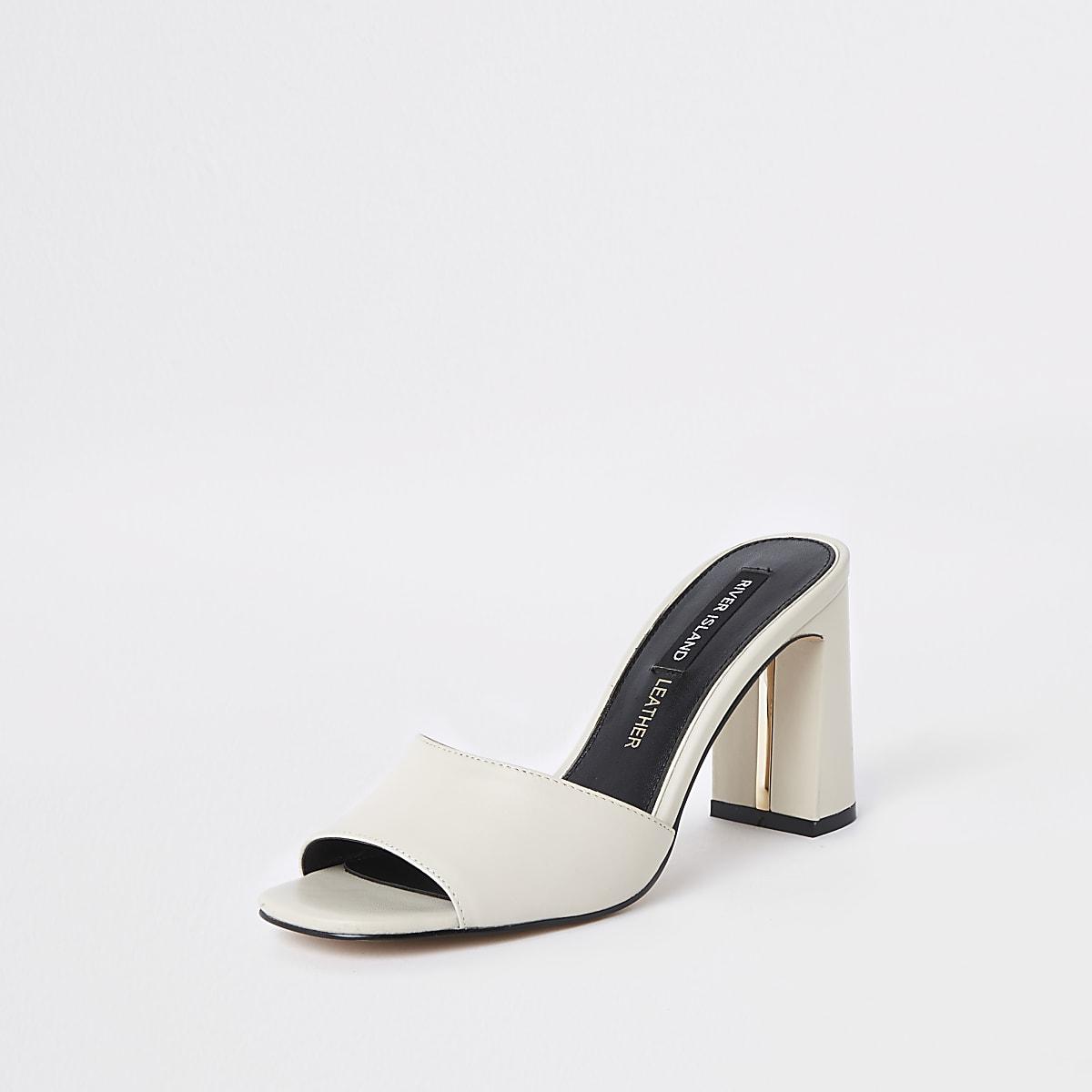 da6f8cc408 White block heel mules