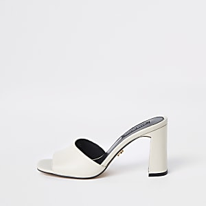 White block heel mules