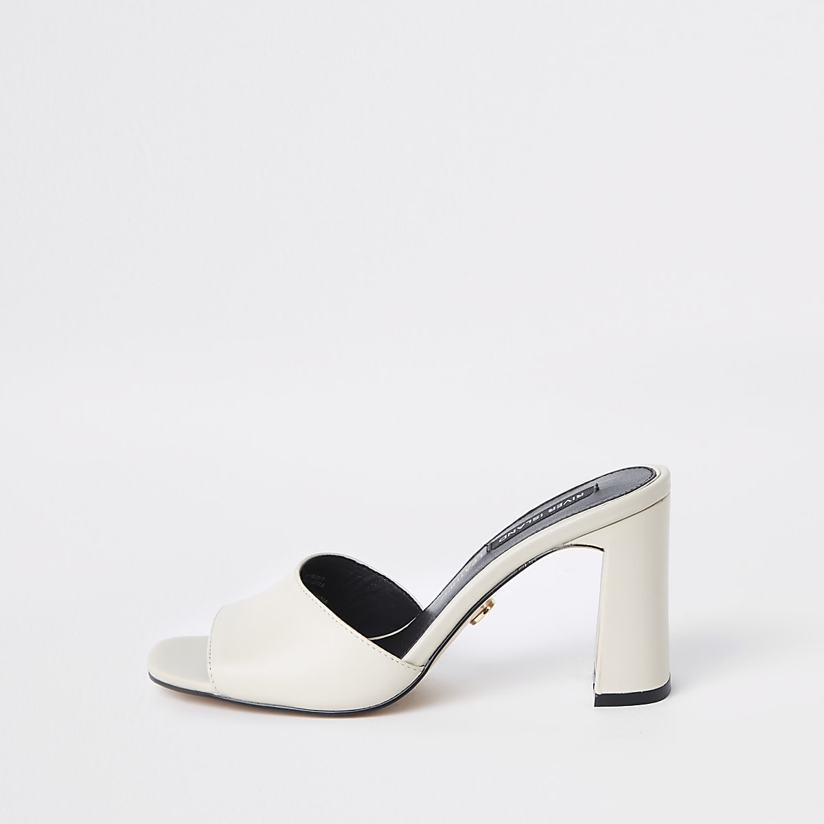 White block heel mules