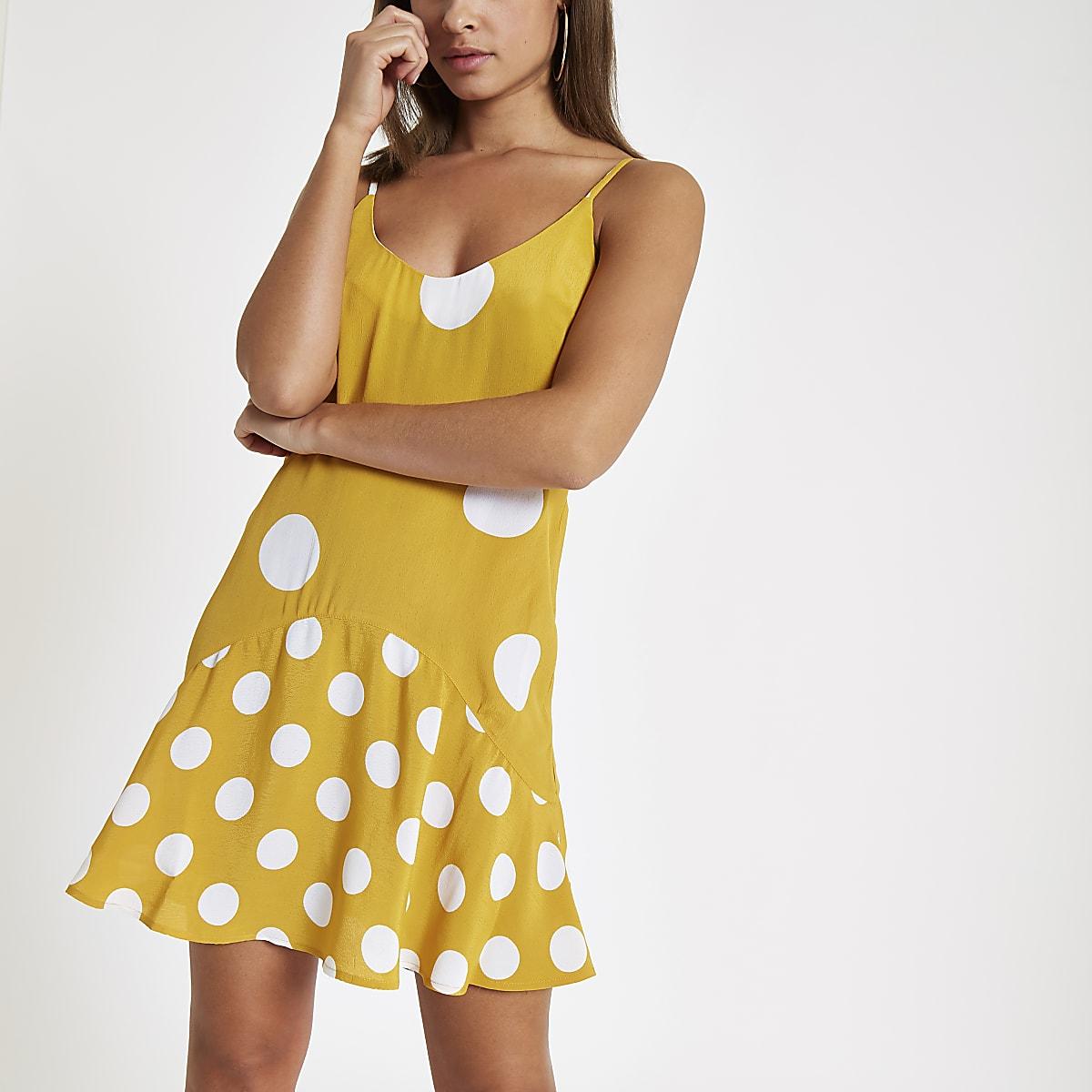 7855f85166d8 Yellow spot print frill hem slip dress - Slip & Cami Dresses ...