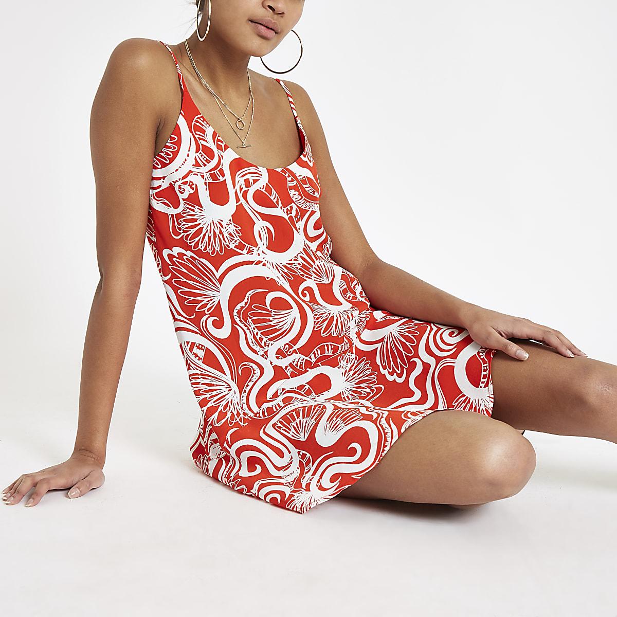 Red floral print frill hem slip dress