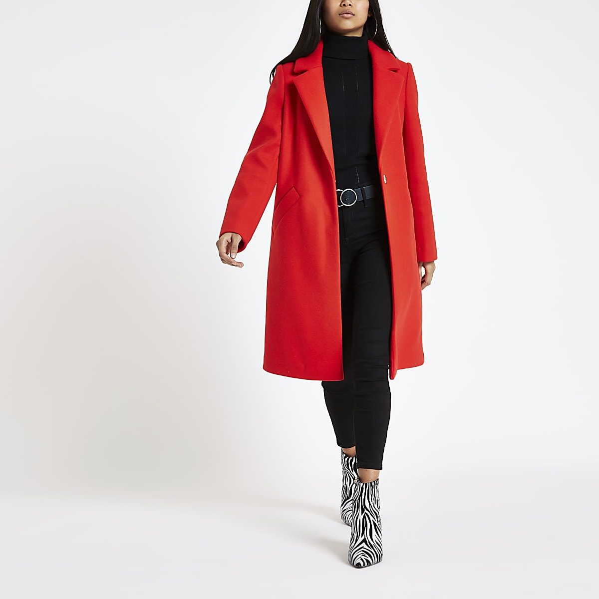 Petite red single breasted longline coat