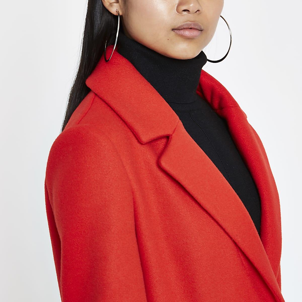 6a6e7caa32f Petite red single breasted longline coat - Coats - Coats & Jackets ...