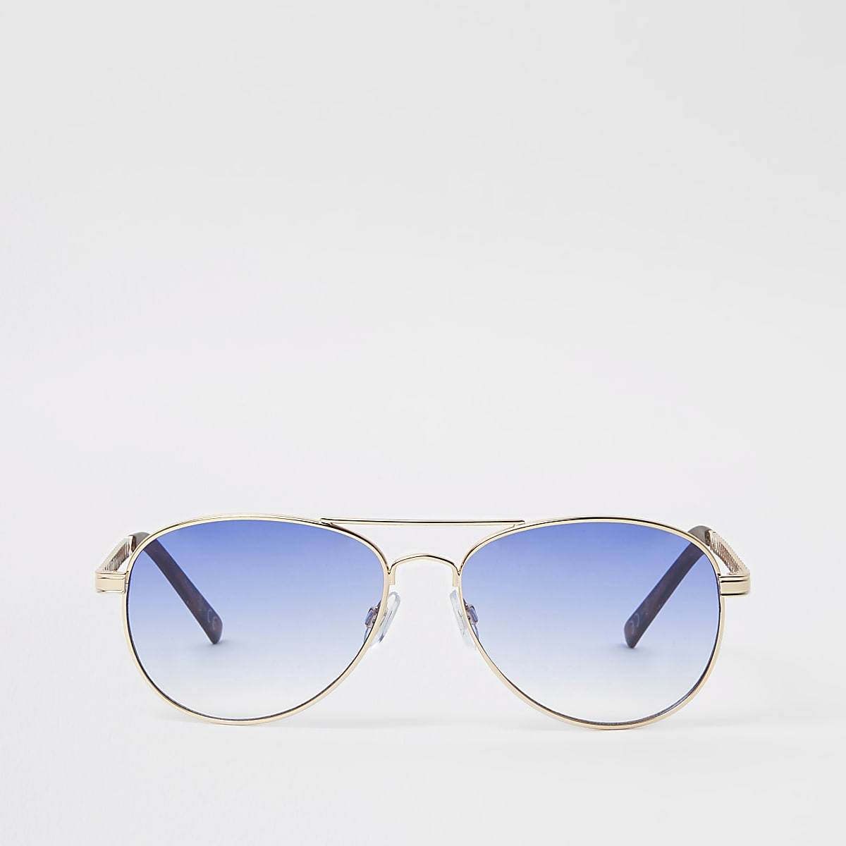 Gold tone light blue lens aviator sunglasses