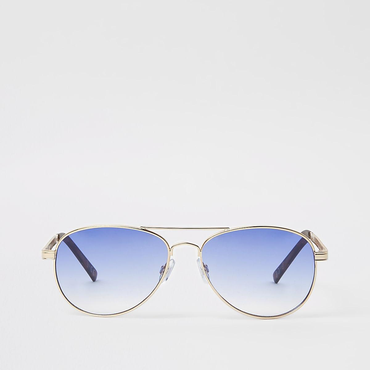 Gold tone light blue lens aviator sunglasses