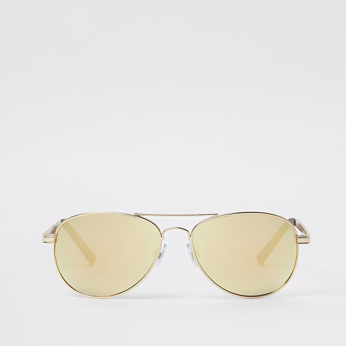 Gold tone mirror lens aviator sunglasses