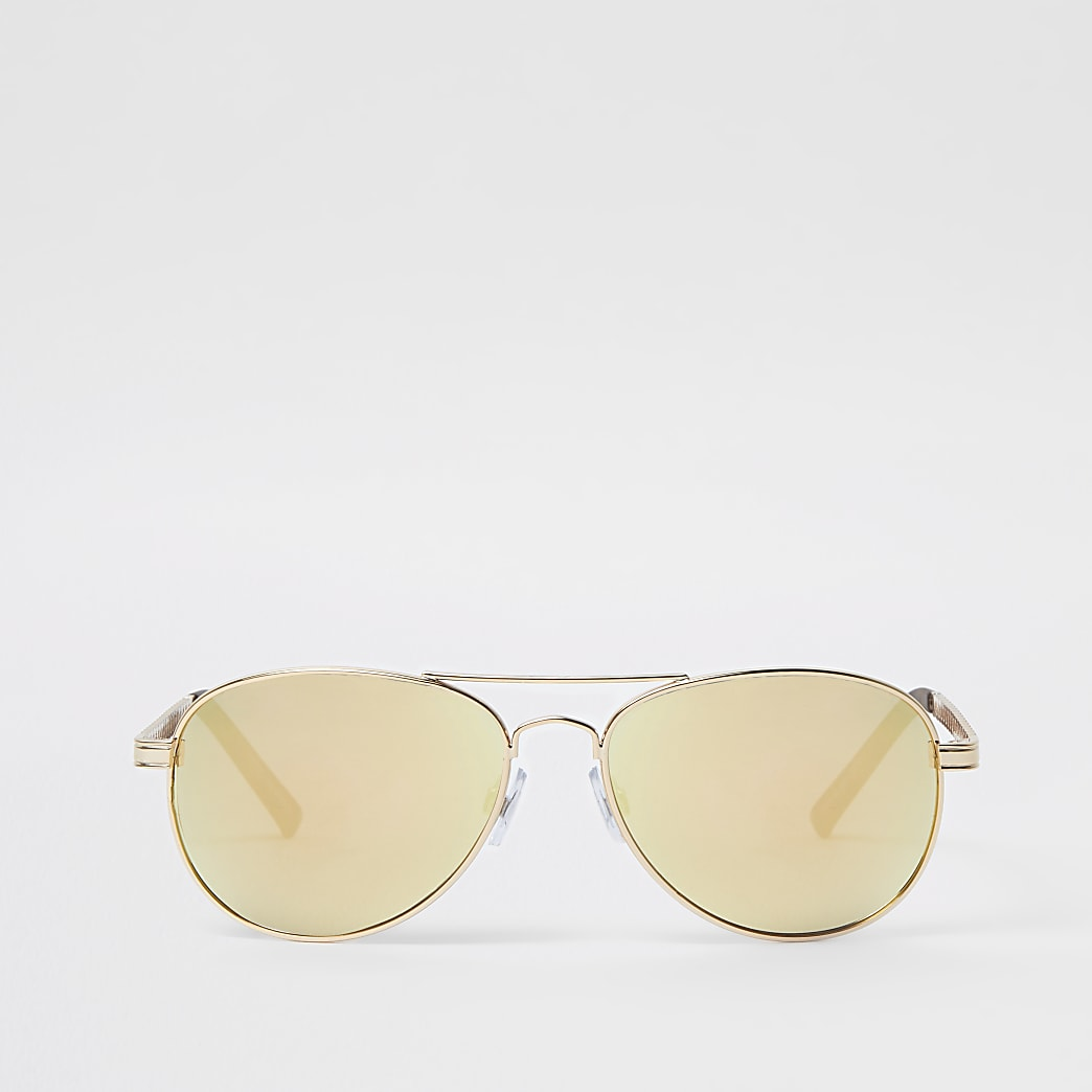 Gold tone mirror lens aviator sunglasses