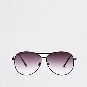 Schwarze Pilotensonnenbrille mit Gläsern in Lila
