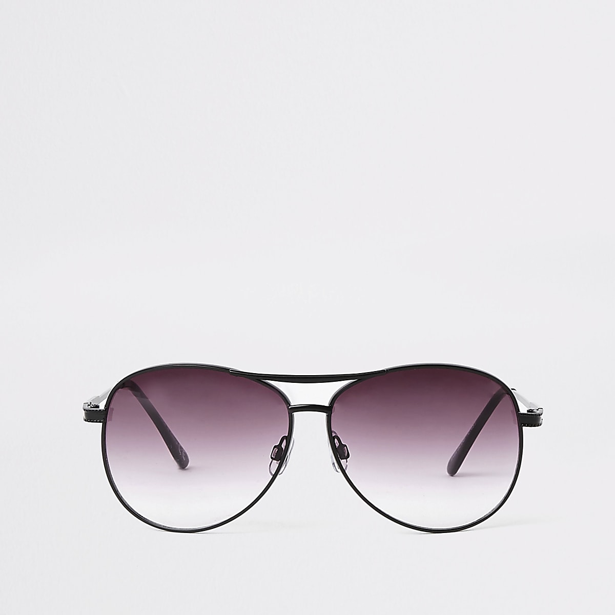 Black purple lens aviator sunglasses