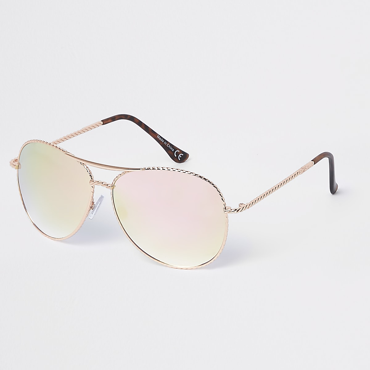 8e5e15d0c27 Rose gold twisted mirror aviator sunglasses - Aviator Sunglasses ...