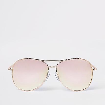 2b70e9e74d1 Rose gold twisted mirror aviator sunglasses - Aviator Sunglasses -  Sunglasses - women