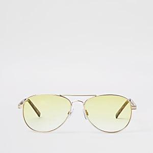Goudkleurige pilotenzonnebril met gele ketting