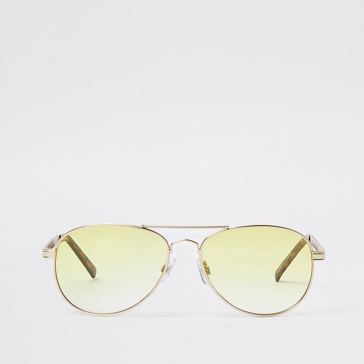 Gold tone yellow chain aviator sunglasses