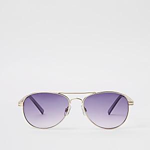 Gold tone purple chain aviator sunglasses
