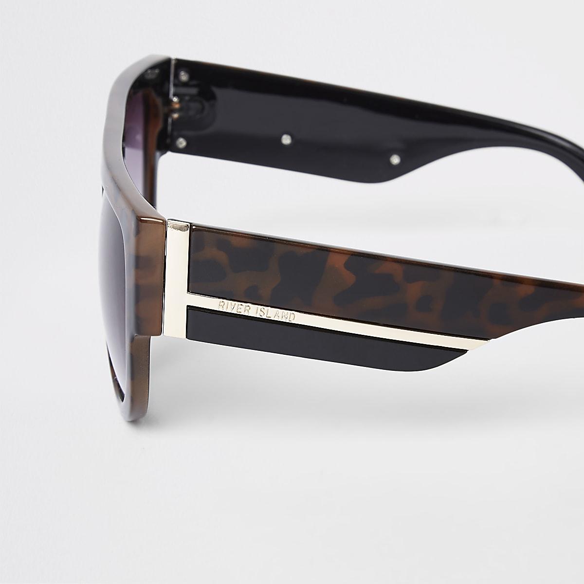 dbfd6da24a472 Brown tortoiseshell print visor sunglasses - Retro Sunglasses ...