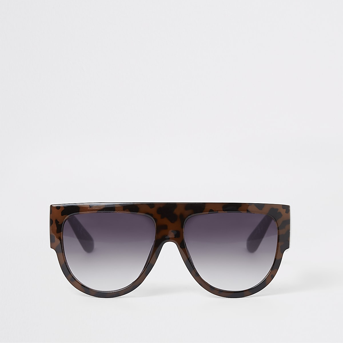 Brown tortoiseshell print visor sunglasses