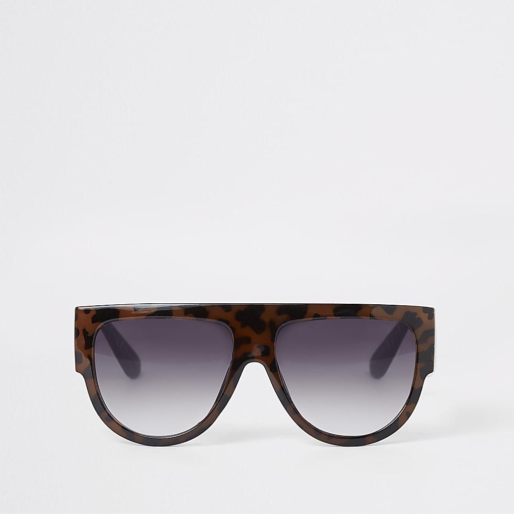 Lunettes de soleil masque imprimé écaille de tortue marron