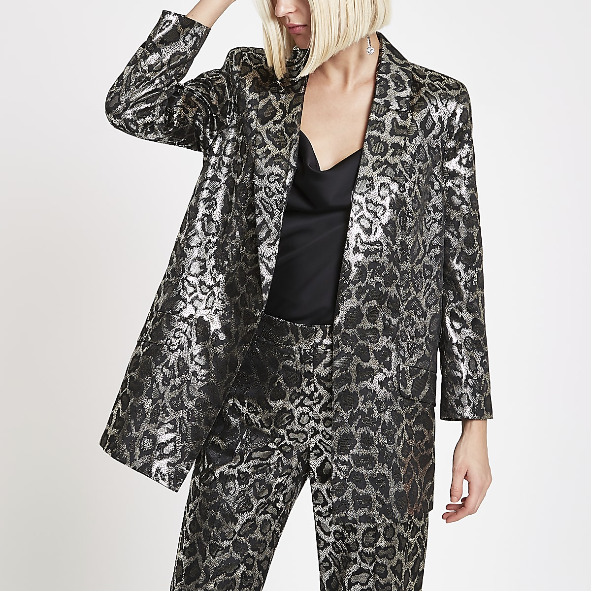 Brown metallic leopard print blazer