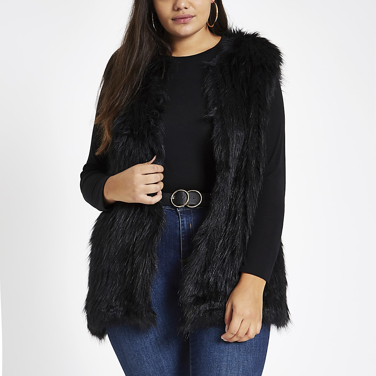 Plus black faux fur vest