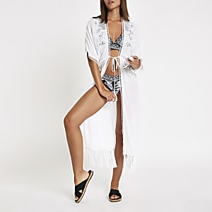 White sequin embellished tassel beach caftan