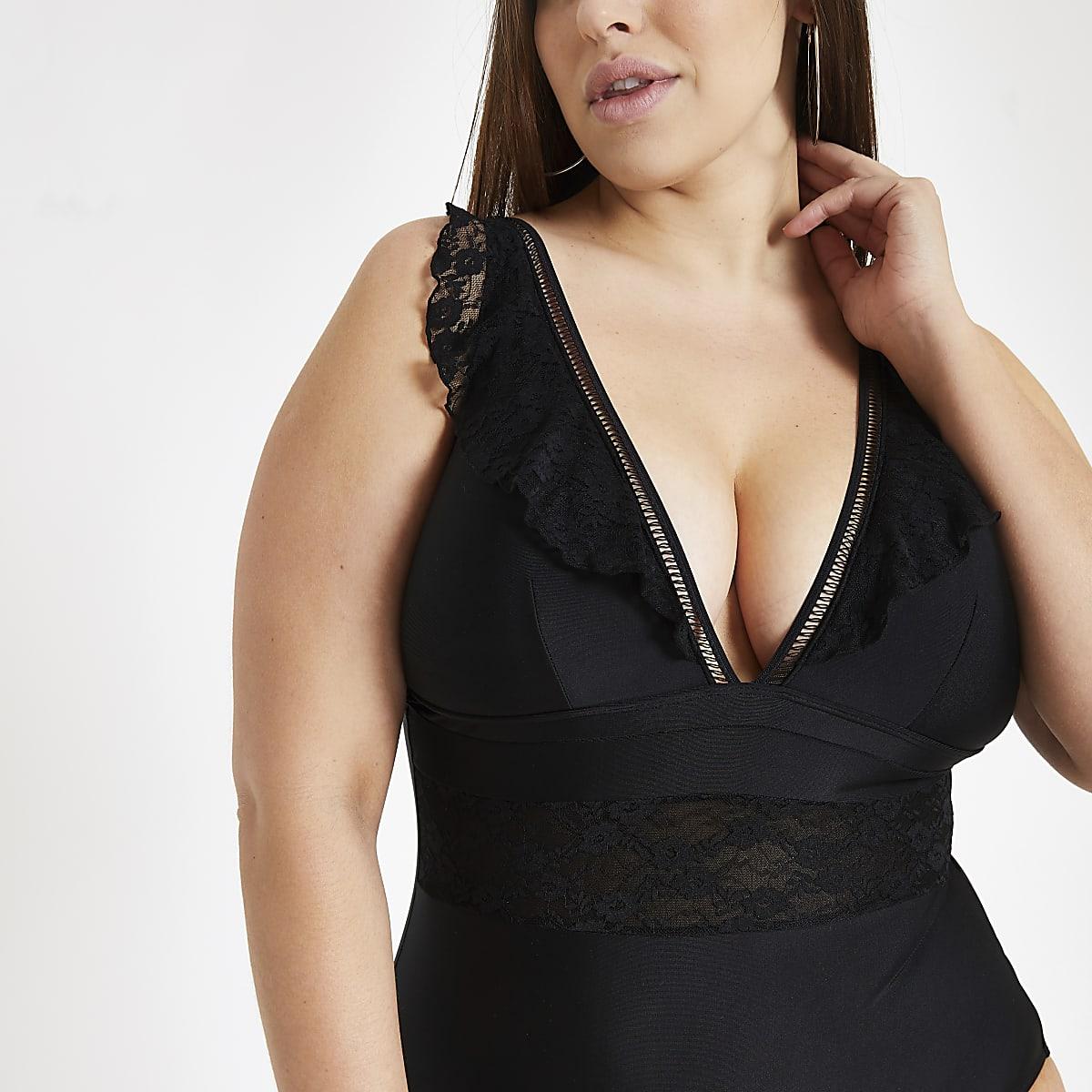 Plus Black lace insert plunge swimsuit