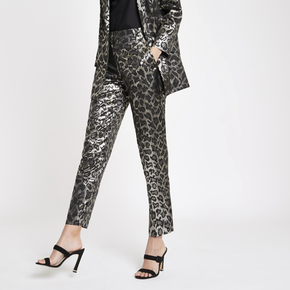 Black leopard print jacquard trousers